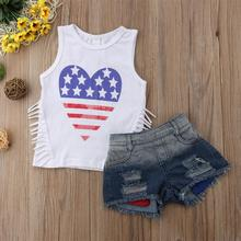 4th of july outfit girls sets clothing 2019 fashion cotton kids clothes girl christmas set outfits sleeveless