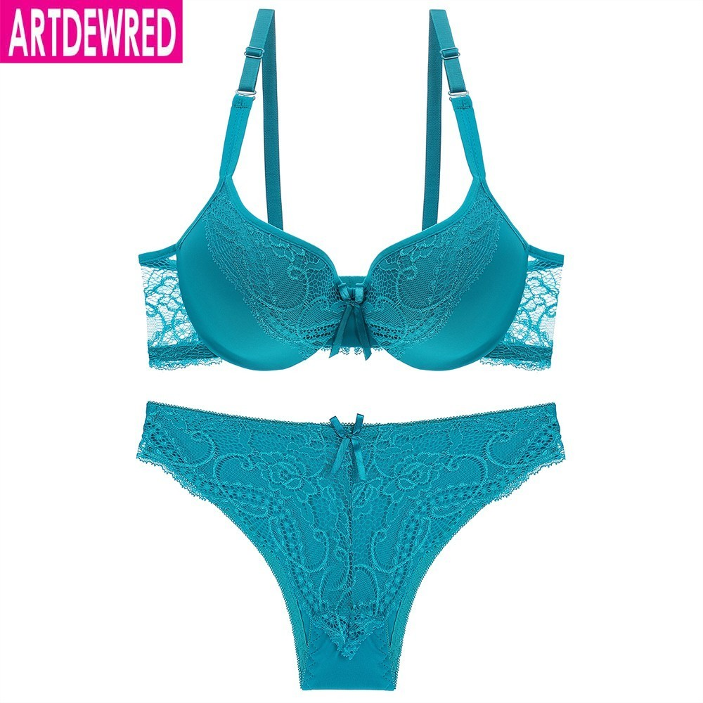 Sexy   Bra     Set   Popular Women Lingerie BC Cup Push Up Brasier Lace Bralette Blue Brassiere   Sets   For Women Underwear   Set