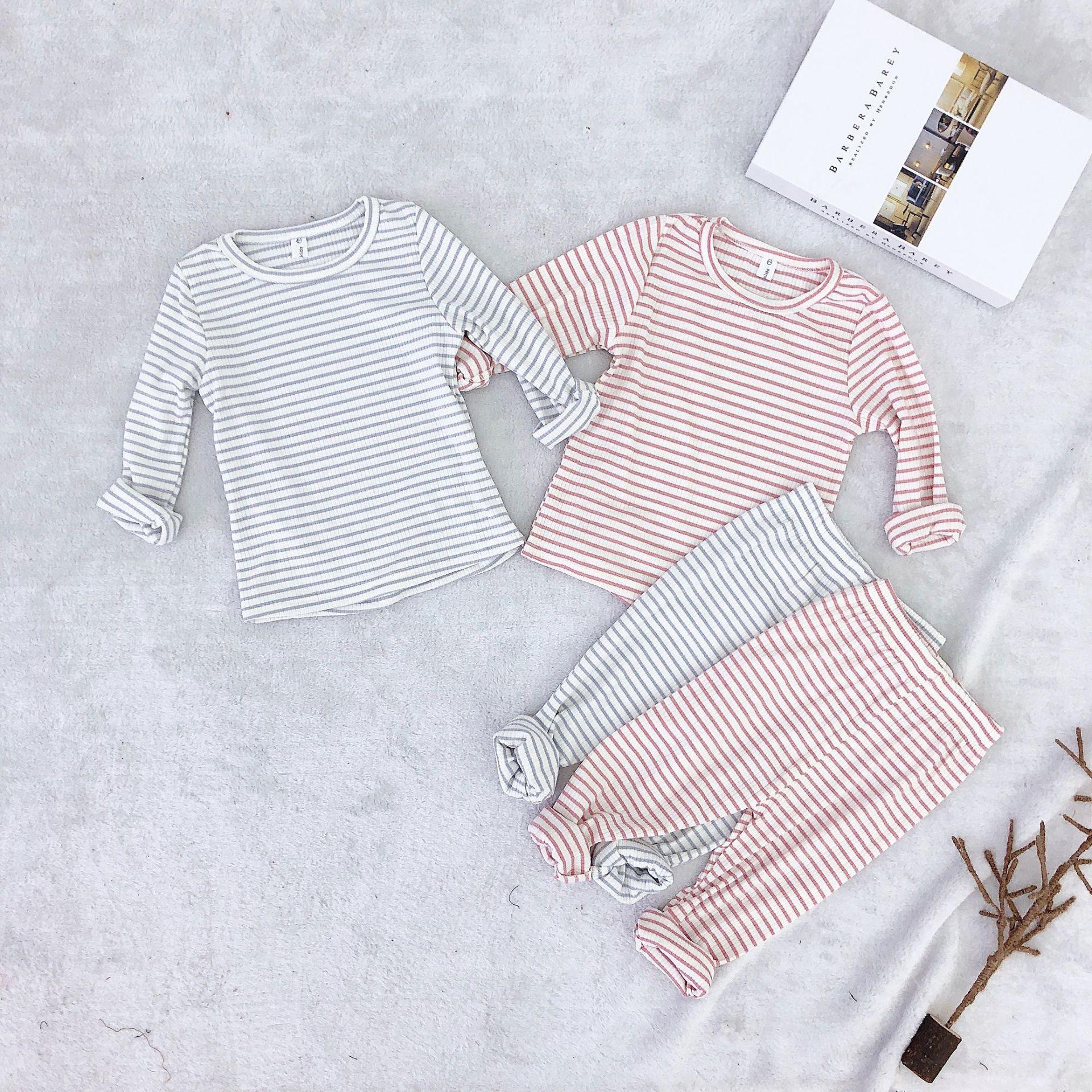 Детский пижамный комплект, полосатая одежда для сна, детские пижамы для девочек и мальчиков, одежда для сна, домашняя одежда, пижамы, enfant, комплект детской одежды, новинка 2019 года