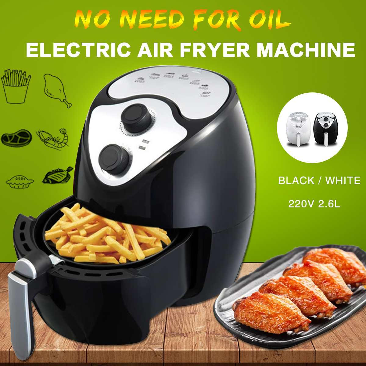2.6L 220V 1270W Electric Deep Air Fryer Machine Household Intelligent Smokeless No Oil Fries Barbecue Health Cooker Machine Tool