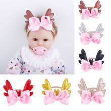 Fashion Cute Christmas Infant Baby Antlers Headband Bow Knot Hair band Ballet 6 Colors Sequins Xmas Headbands New(China)