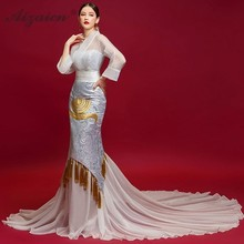 V-neck Burgundy Tulle With Embroidery Mermaid Evening Dresses Qipao Long Cheongsams Chinese Wedding Dress Satin Cheongsam Girl