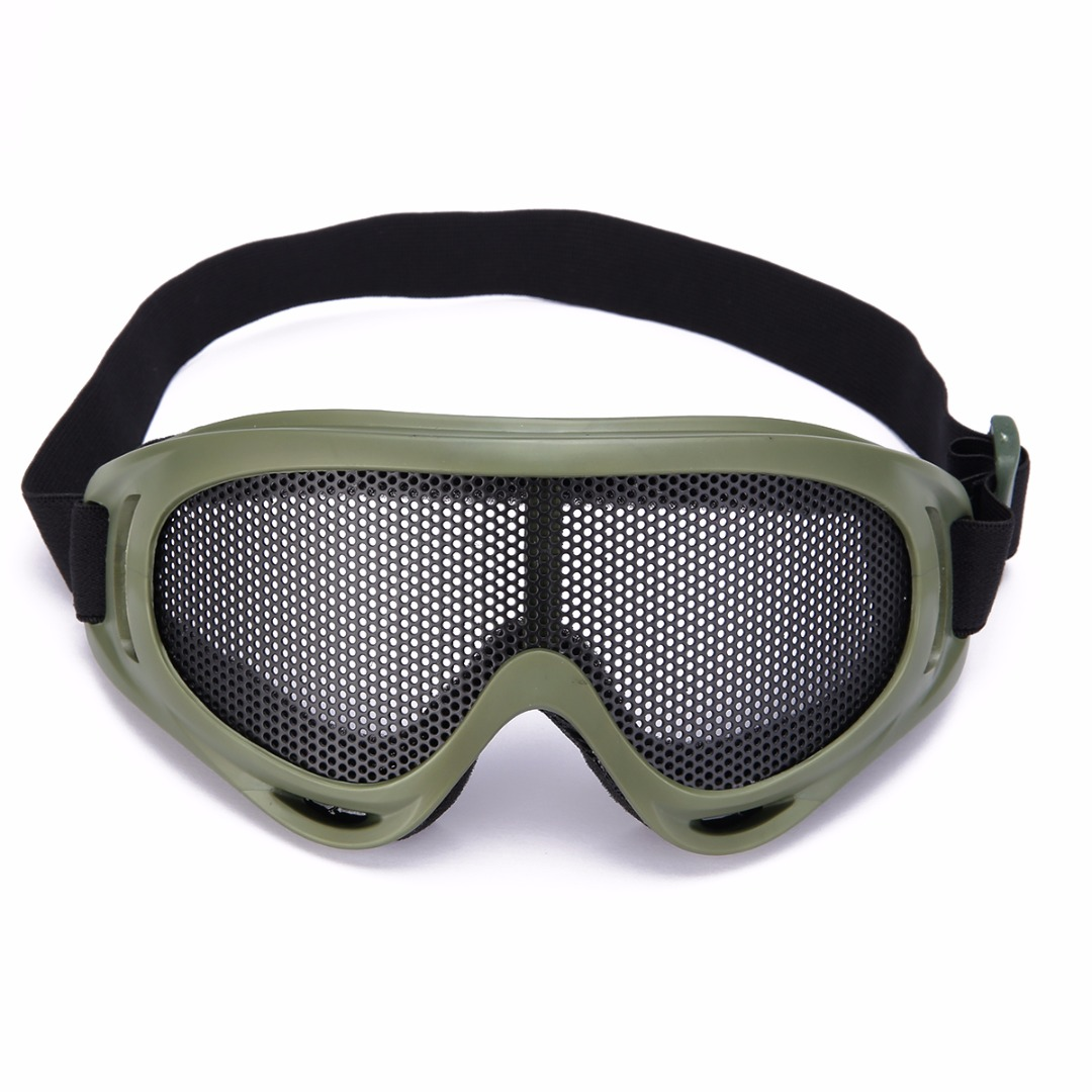 1Pcs Tactical Anti Fog Metal Mesh Big Goggles Eye Safety Protection Glasses For Airsoft Desert Airsoft Glasses Hiking Eyewear