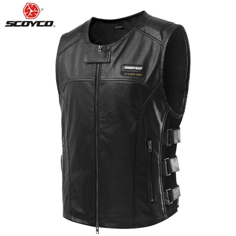 SCOYCO винтажный кожаный мотоциклетный жилет Ретро мото одежда для верховой езды мотоциклетный жилет для езды на велосипеде защитные жилеты