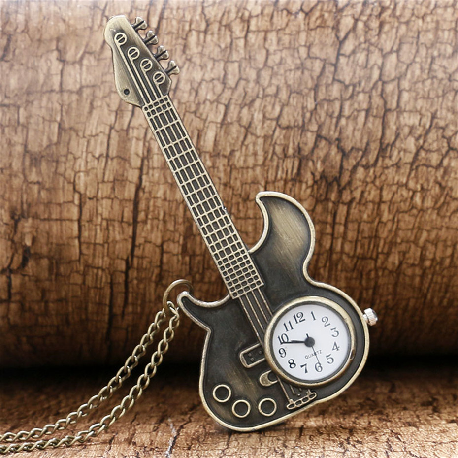 Unique Guitar Shape Quartz Pocket Watch Retro Bronze Necklace Watch For Men Women Kids With 80 Cm Vintage Chain P130