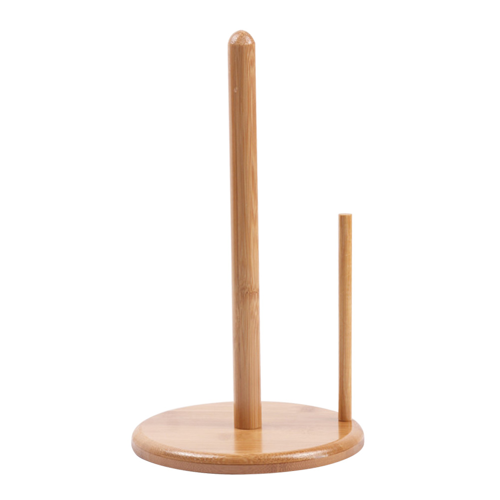 1pc Bamboo Toilet Paper Holder Roll Paper Stand Organizer Bathroom Suction Hanger Tissue Rack Kitchen Towel Hook