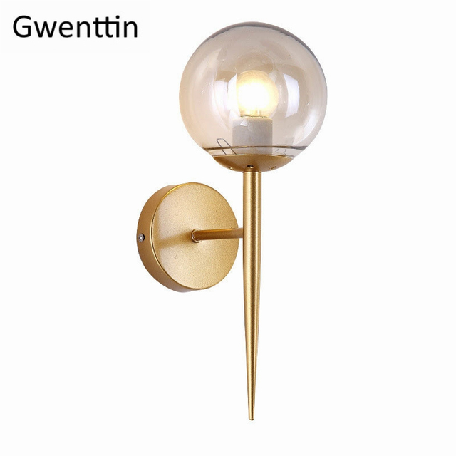 Modern Glass Ball Wall Lamp Sconce Nordic Led Wall Light Fixture Home Industrial Decor Living Room Bedroom Kitchen Luminaire