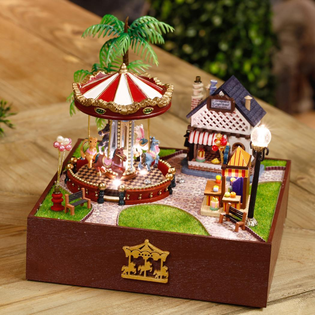 DIY Carousel Music Box Happiness Sunshine Wooden Music Box European Handmade Educational Toy Home Decor Valentine's Day Gift