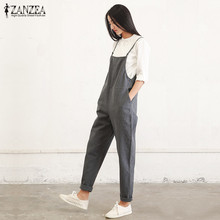 9c51b233936a4 ZANZEA Rompers Womens Jumpsuit 2019 Summer Casual Pockets Sleeveless Strap  Long Playsuit Solid Loose Overalls Plus
