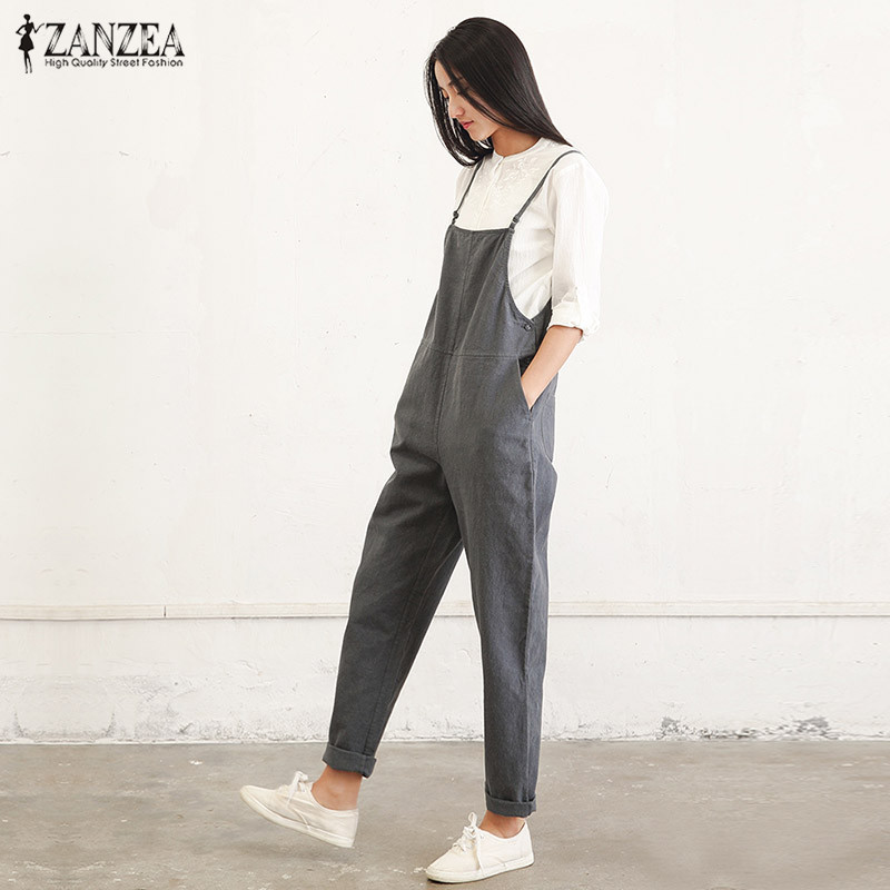 ZANZEA Rompers Womens   Jumpsuit   2019 Summer Casual Pockets Sleeveless Strap Long Playsuit Solid Loose Overalls Plus Size