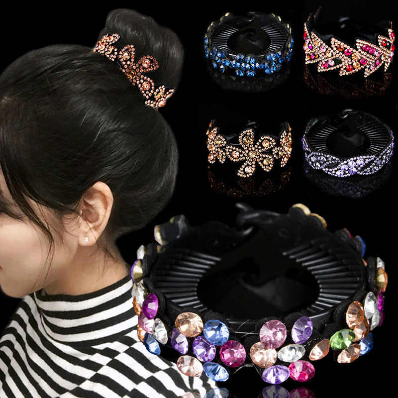 Fashion Rhinestones Flower Hair Claws Women Hair Accessories Girls Hairpin Headwear Bird Nest Floral Twist Clip 23 Colors