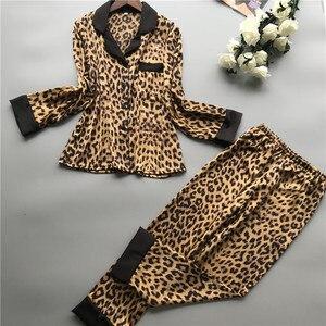 Image 2 - 2019 Summer Women Pajamas Sets With Pants Silk Homewear Satin Leopard Print Sexy Pijama Long Sleeve Pyjamas Thin Sleepwear