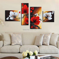 Hand painted red Flower Acrylic painting flowers modular pictures 4 pieces Oil Painting on canvas wall art