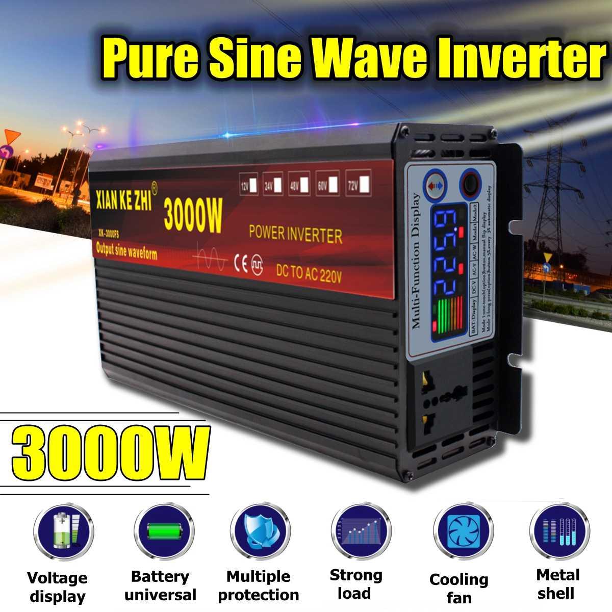 3000W Pure Sine Wave Inverter DC 12/24/48/60/72V TO AC 220V 50Hz Power Converter LCD Display