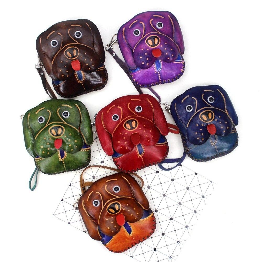 2019 New Genuine Leather Animal Coin Purse Women Mini Handbag Handmade Small Bags Lovely Girls Clutch Change Purse Kawaii Wallet