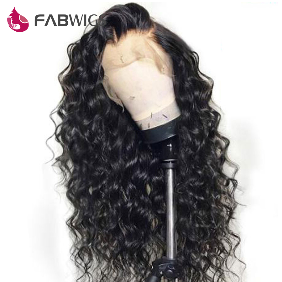 Fabwigs Water Wave Lace Front Human Hair Wigs Malaysian Human Hair Wigs with Baby Hair Pre