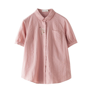 Image 5 - אינמן הקיץ להנמיך צווארון ספרותי רקמת רטרו כל התאמה מקרית Slim קצר שרוול נשים חולצה