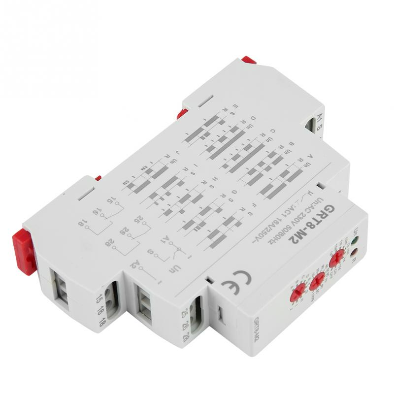GRT8-M2 Multifunctional Delay Time Relay with 10 Functions DIN Rail Mount AC 220V Time Relay GRT8-M2