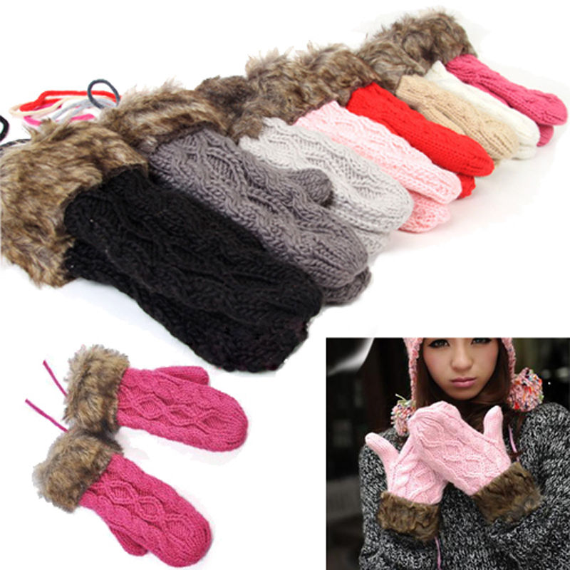 One Pair Women  Winter Warm Knit Gloves Warmer Mittens Finger Gloves With String Connected