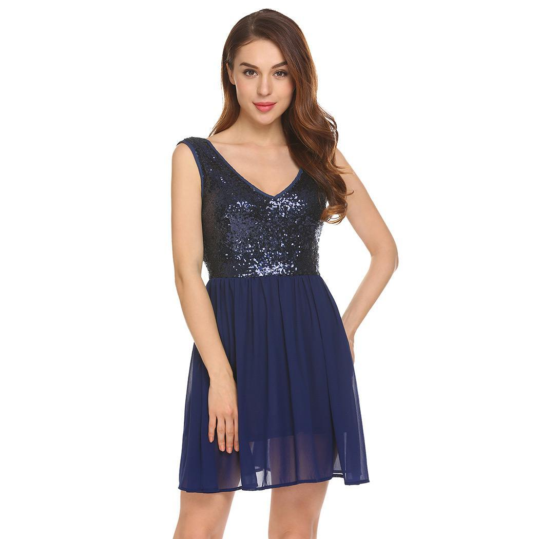 AL'OFA Coctail   Dress   Women V-Neck Sleeveless Backless Sequined Pleated Chiffon   Cocktail     Dresses   Party Robe Short Formal   Dress
