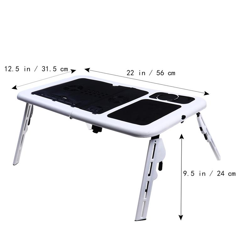 Laptop Table Tray Foldable Desk Tablet Desk Stand Bed Sofa Couch+Cooling Fan New