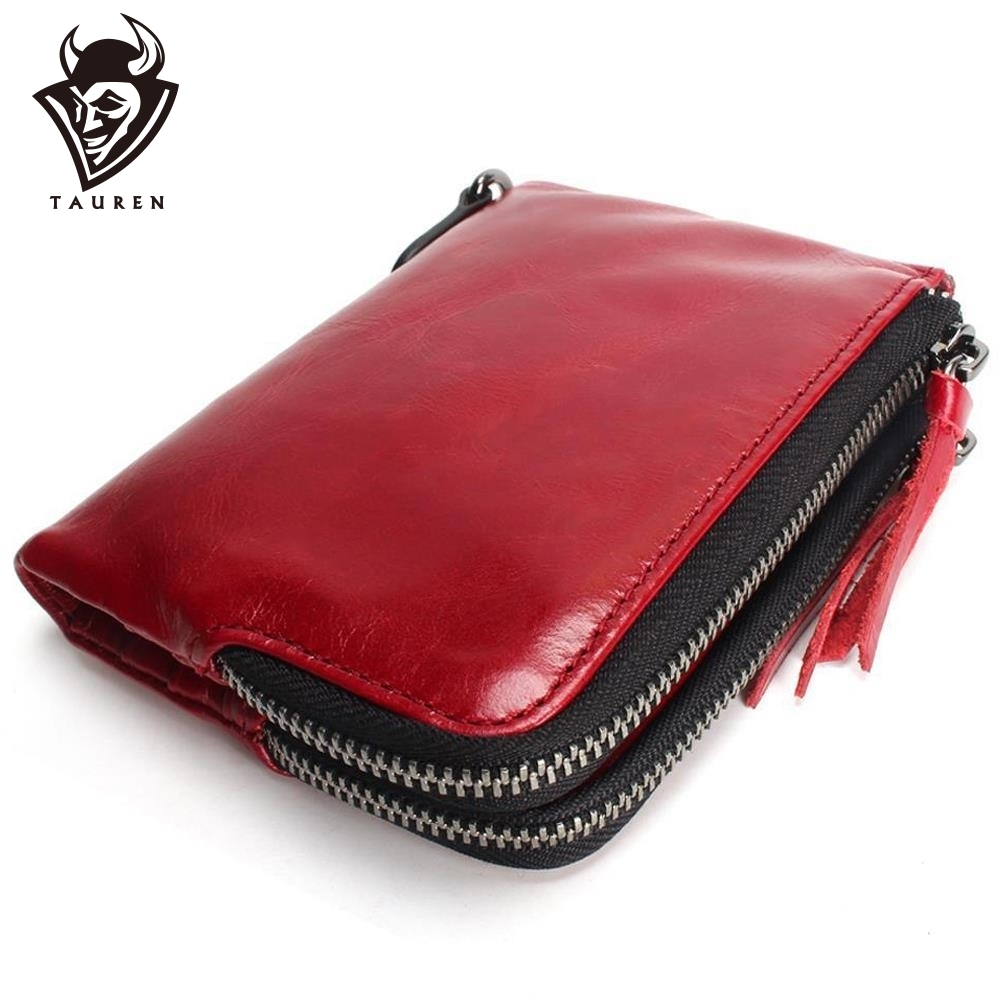 2019 New TAUREN Cute High Quality Genuine Leather Women Mini Wallet Oil Wax Leather Coin Purse Coin Zipper Credit Card Holder