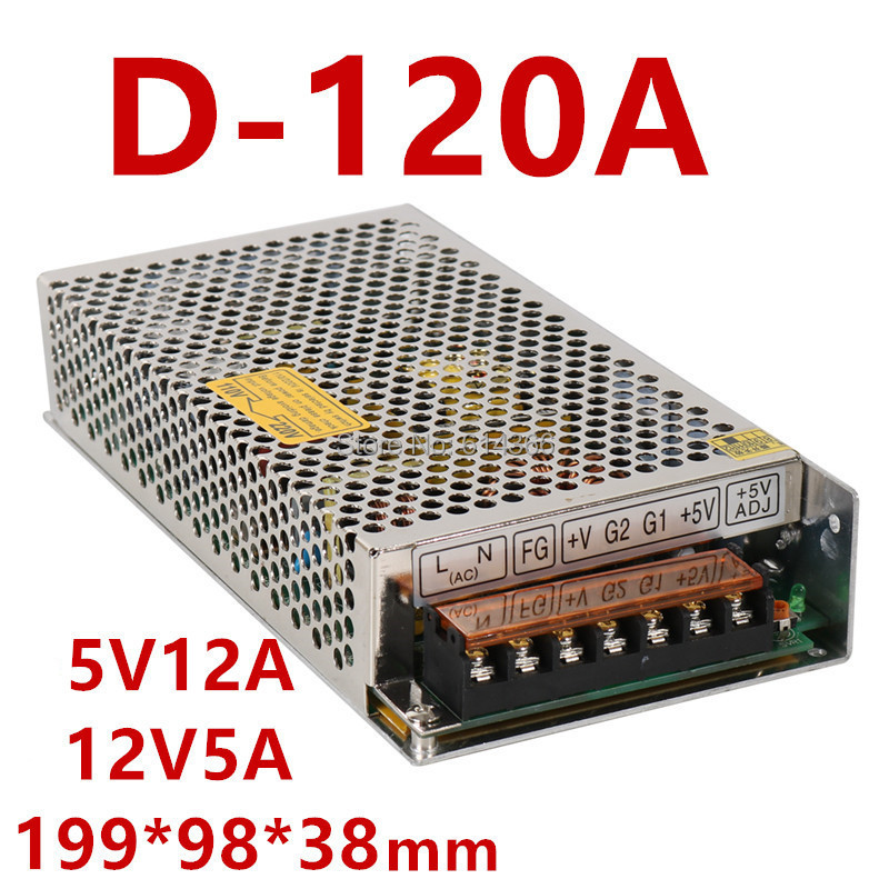 high quality dual Output Switching power supply 120W 5V 12A 12V 5A ac to dc power supply ac dc converter D 120A