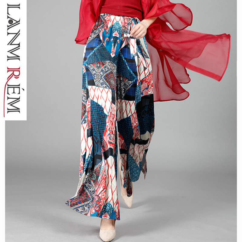 LANMREM Casual High Waist Personality Printting Trousers For Women Chiffon   Wide     Leg     Pants   2019 Spring Summer Fashion New YH23605