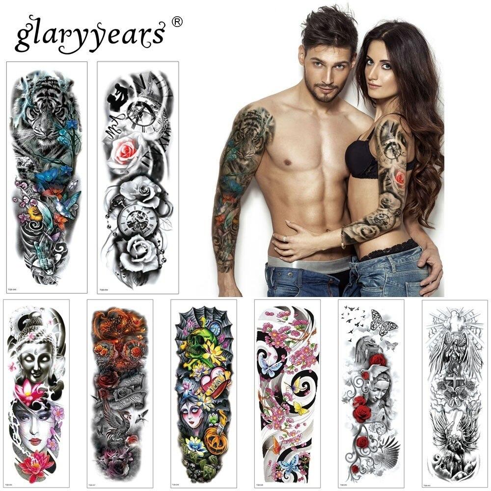 Glaryyears 1 Pc Large Arm Temporary Tattoo Sticker Colorful Fake Tatoo Sleeve Flash Tatto Waterproof Big Body Art Men Women TQB