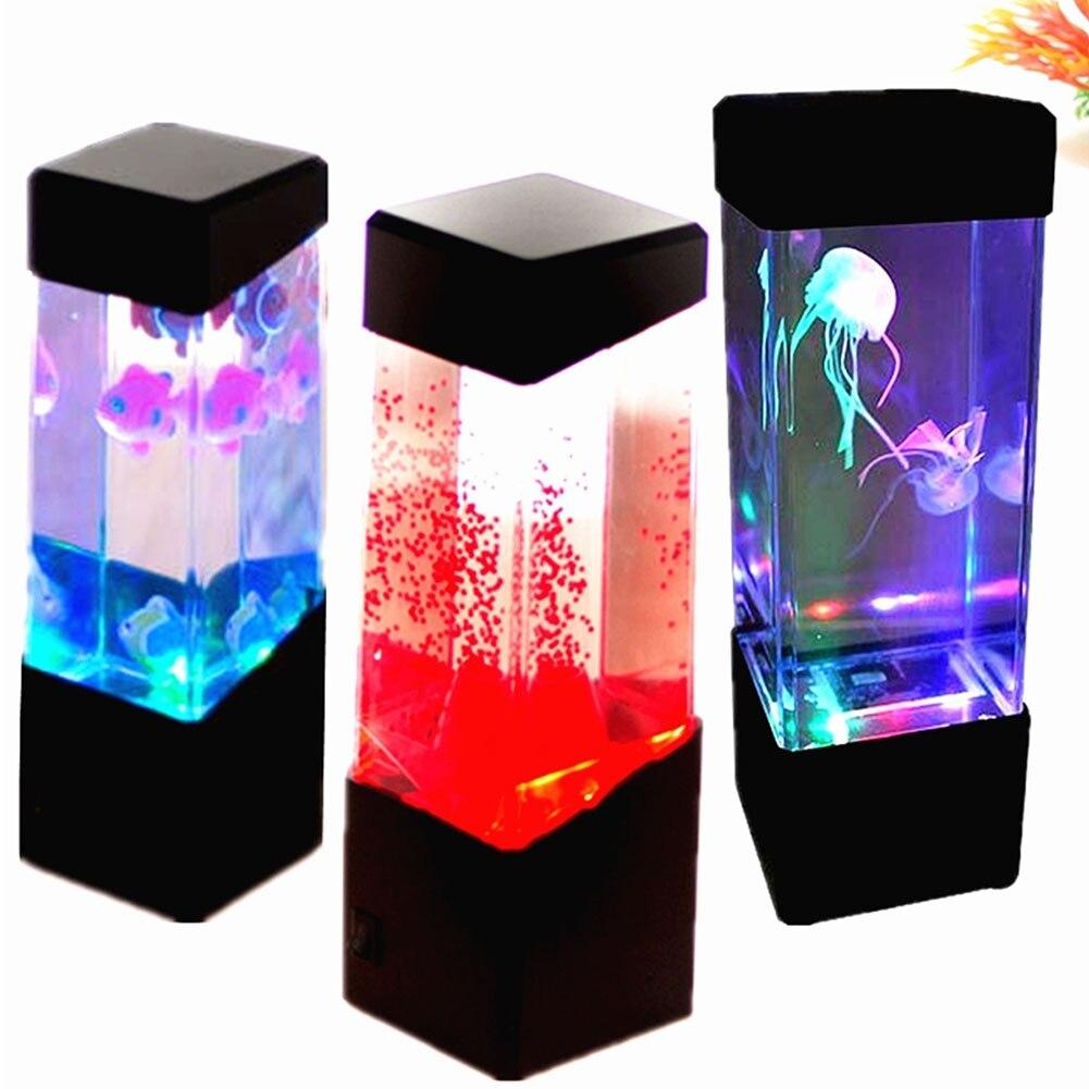 Estilo Tanque Jellyfish Mood Light Aquário CONDUZIU a Lâmpada Sensorial Do Autismo Lava Lamp LED Desk Lamp Navio Da Gota
