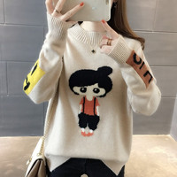 Female Autumn Winter Sweaters 2018 New Korean Version O Neck Loose Suit Long Sleeves Lazy Bottom Knitted Pullover Sweaters