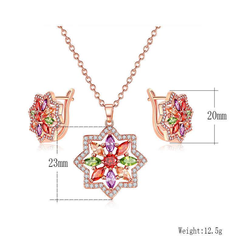 Olsen Twins Multicolor Cubic Zirconia Rose Gold Geometric Star Earrings Necklace Female Oorbellen boucle doreille