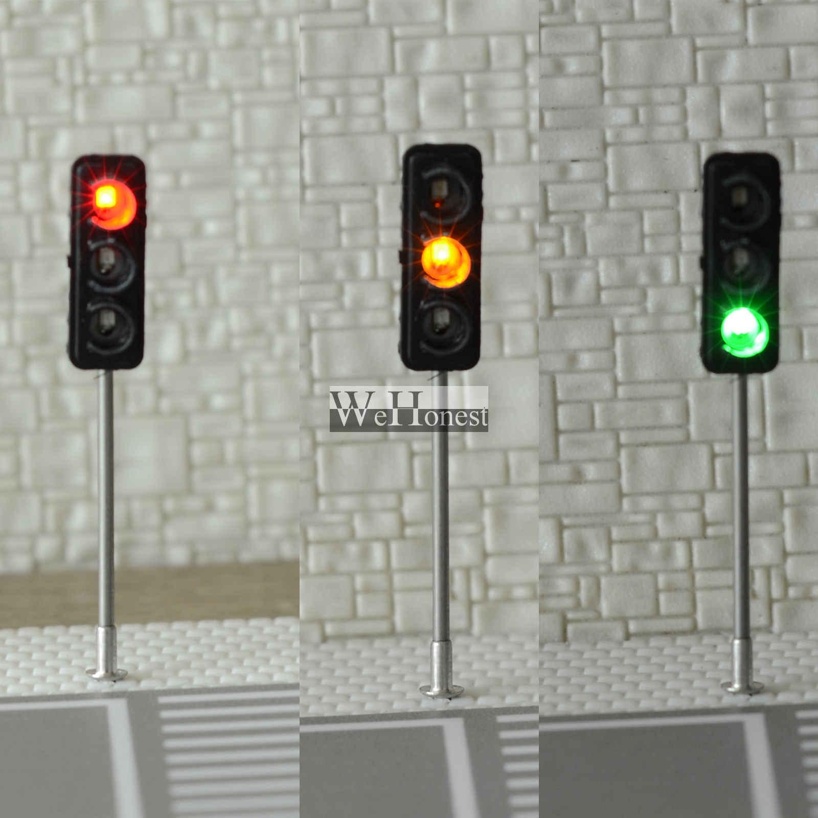 3 sztuk budowy HO/OO Model 3-mały ruch świateł sygnału obwodu LED Model 50mm DIY dla architektury ulica pociągu kolejowego
