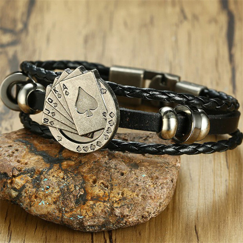 Leather Wrap Multilayer Poker Bracelet Men Woven Bracelets Punk Poker Star Men Accessories Jewelry Women Bracelets Bangles Gifts