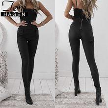 3c4410cbd10c0 Autumn Winter Fashion Sexy Black Back Zipper Pu Leather Pants Capri Women  Skinny High Waist Trousers Club Slim Pants Bottom