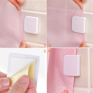 Image 5 - 2pcs Curtain Clips Anti Splash Spill Stop Water Leaking Guard Bathroom Seamless Self Adhesive Shower Curtain Clips Buckle
