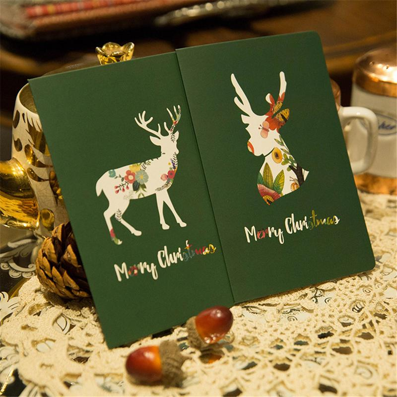 greeting card beautiful green color colored deer folding