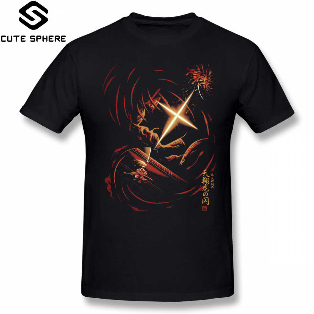 Rurouni Kenshin T Shirt Flash Of The Heavenly Dragon T-Shirt Summer Plus size Tee Shirt 100 Cotton Male Cute Short Sleeve Tshirt
