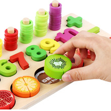 Wooden Blocks Baby Early Montessori set Assembly Magnetic Fruit Cutting Game 1-10 Digital Puzzle Children's Educational Math Toy set montessori educational baby early evelopment scale funny balance game wooden toy children math toy gift