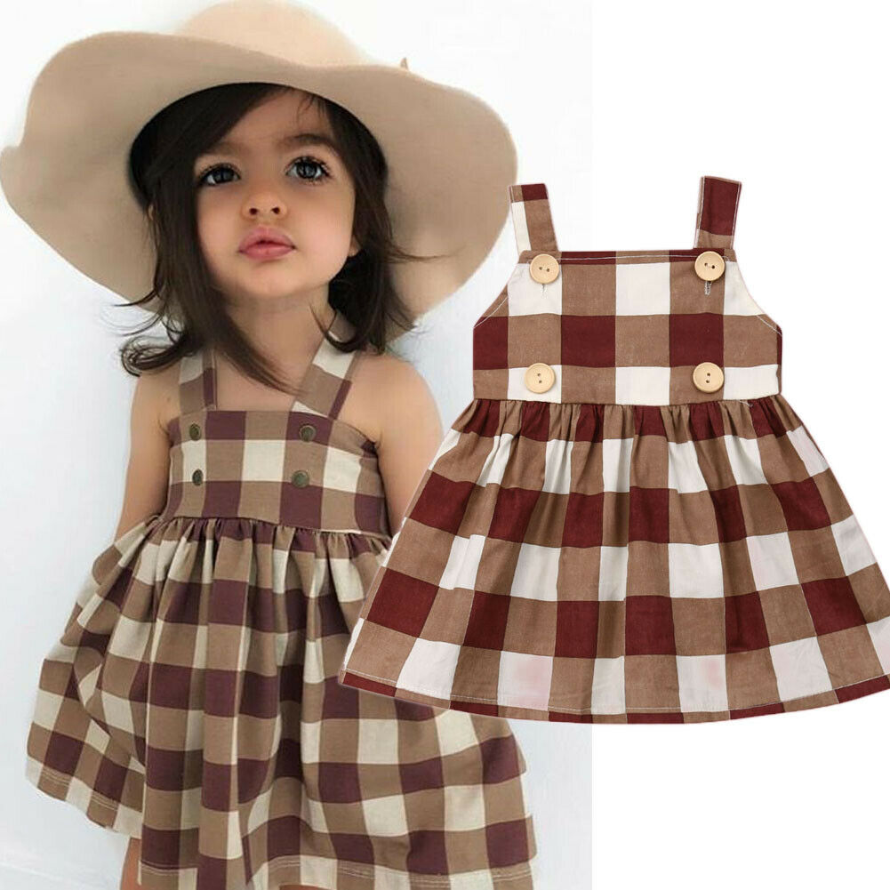 2019 Children Summer Clothing 1-7Y Toddler Kids Baby Girl Plaid Dress Sleeveless Button Knee-Length Checked Party Dress Sundress