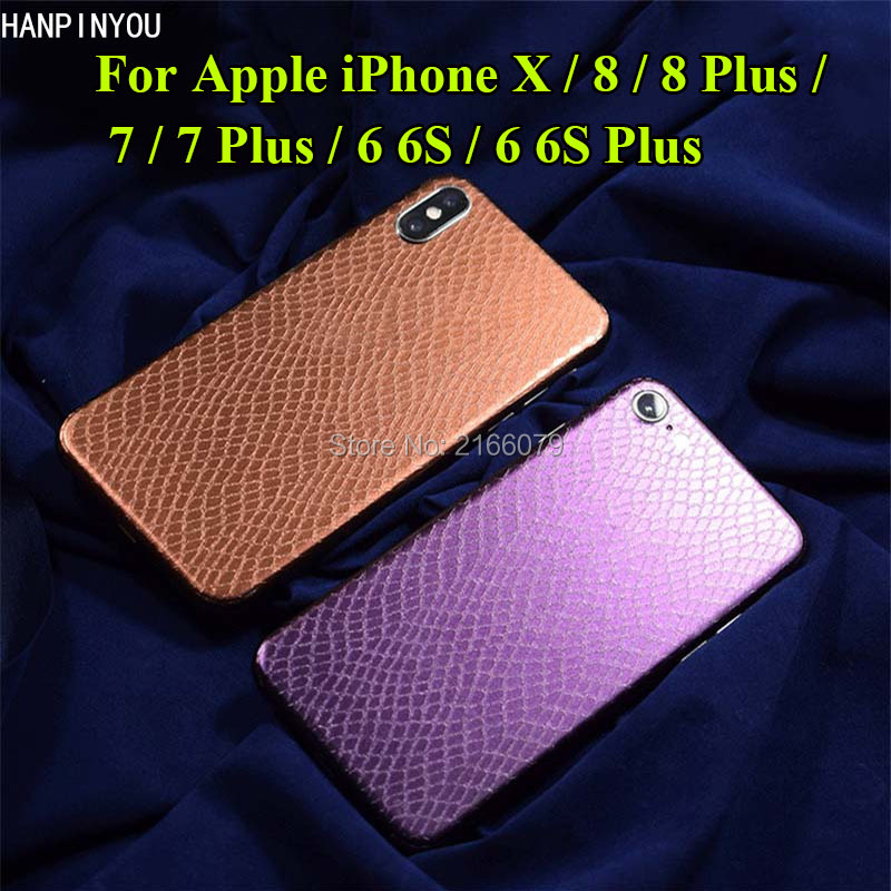 For Apple iPhone X 6 6S 7 8 Plus 3D Snake Skin Gradient Full Body Back