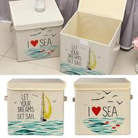 Large Capacity Foldable Cartoon Canvas Cube Toy Plain Linen Storage Box With Cover Prevent Dust Office Home Sundries Storage
