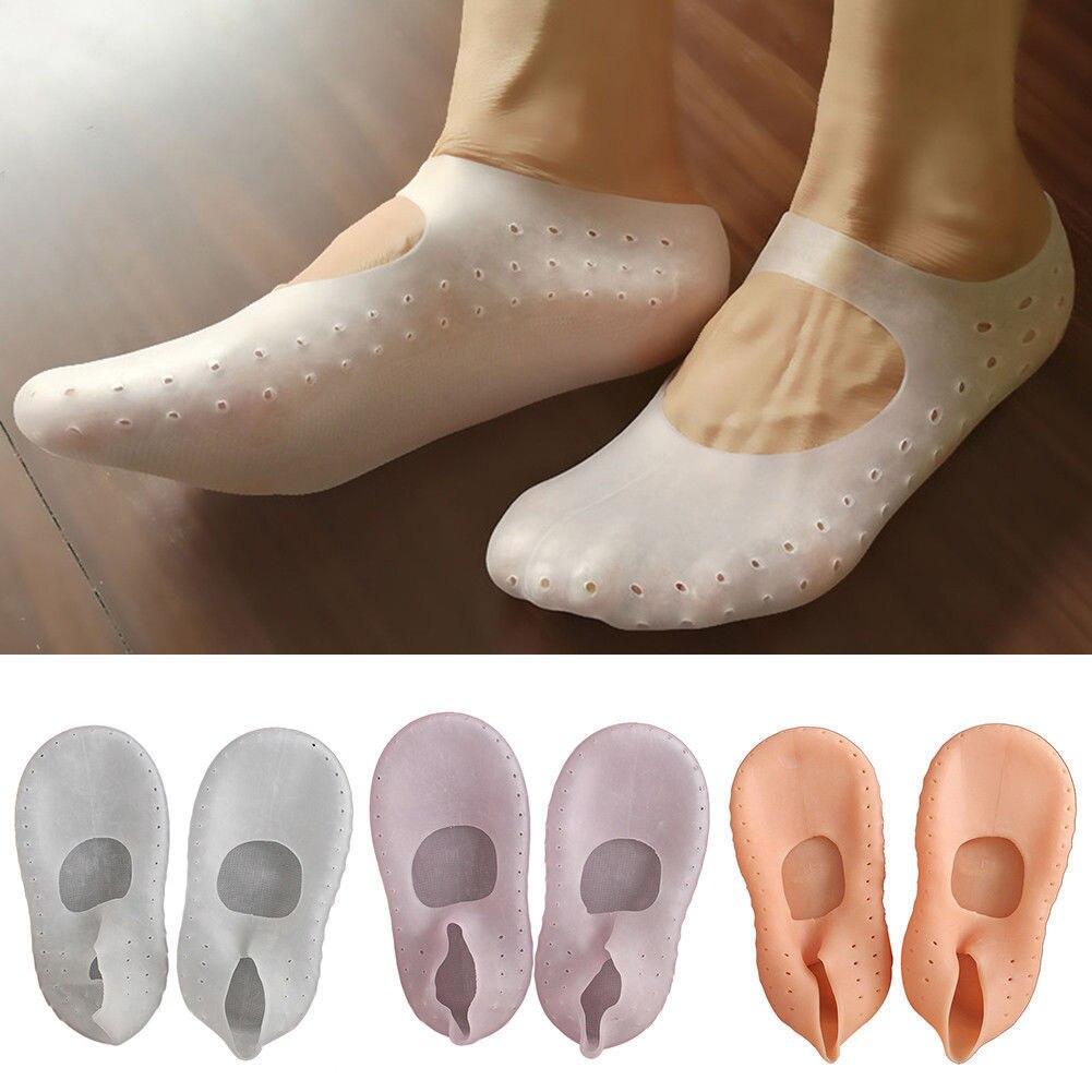 1Pair Silicone Moisturizing Gel Heel Socks Cracked Foot Skin Care Protector Fleshcolor Pink White Sock Slippers