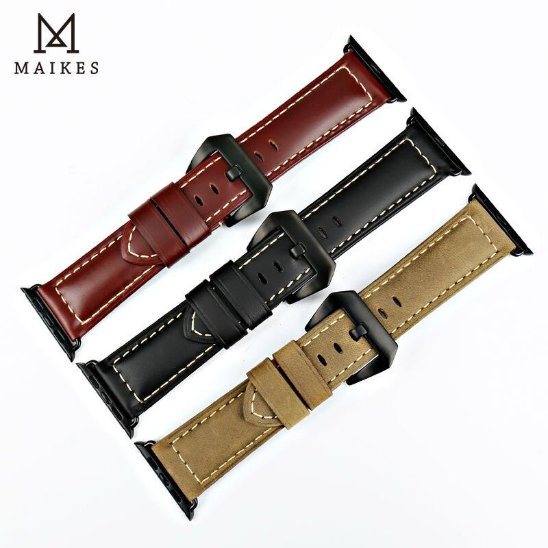 MAIKES äkta läder 44mm 40mm För Apple klocka band armband för - Tillbehör klockor - Foto 4