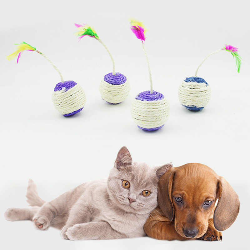 Hot Sale 1PC Pet Toys Cat Claw Scratching Sisal Toy Shuttlecock Ball  Developmental Toys Colorful Feather Toy Ball Random Color