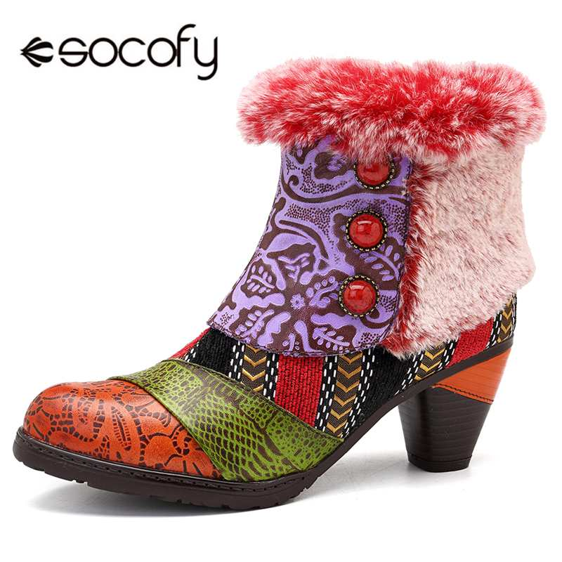 Socofy البوهيمي الشتاء الثلوج أحذية حريمي برقبة امرأة كتلة الكعوب حذاء من الجلد سستة خمر مبطنة الفراء أفخم الجوارب السيدات أحذية-في أحذية الكاحل من أحذية على  مجموعة 1