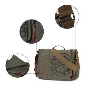 Image 5 - Винтажные мужские сумки через плечо, Холщовая Сумка на плечо, модная мужская деловая сумка через плечо для мужчин, брендовая мужская дорожная сумка с принтом