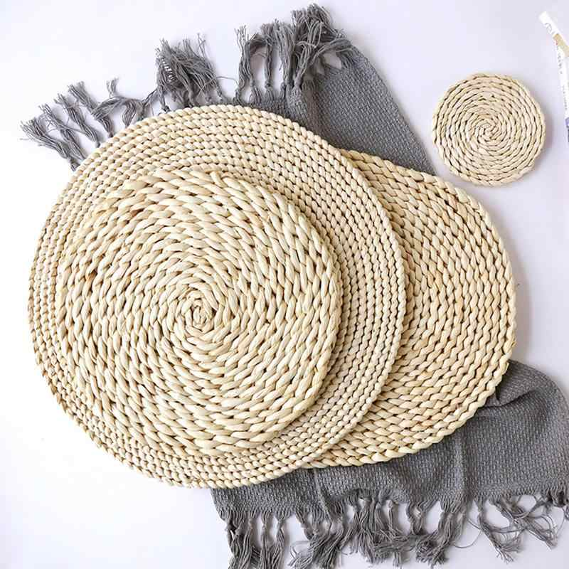 Japanese Woven Table Pad Natural Corn Fur Thickened Insulation Tea Mat Heat Resistant Casserole Pad Dining Table Round Placemat