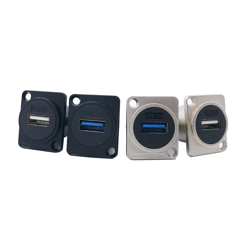 D type Metal USB socket female to female USB 3.0 2.0 connector panel mounting|socket connector|l connector|socket usb - title=