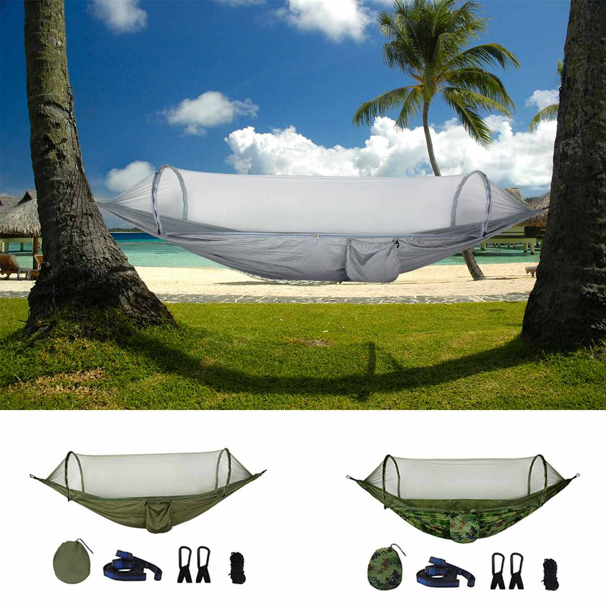 1-2 Person Portable Outdoor Hammock with Mosquito Net Buckle Auto Jungle Parachute Hammock Camping Sleeping Swing Bed Hunting1-2 Person Portable Outdoor Hammock with Mosquito Net Buckle Auto Jungle Parachute Hammock Camping Sleeping Swing Bed Hunting